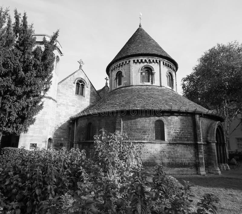 Ronde Kerk in Cambridge in zwart-wit royalty-vrije stock foto