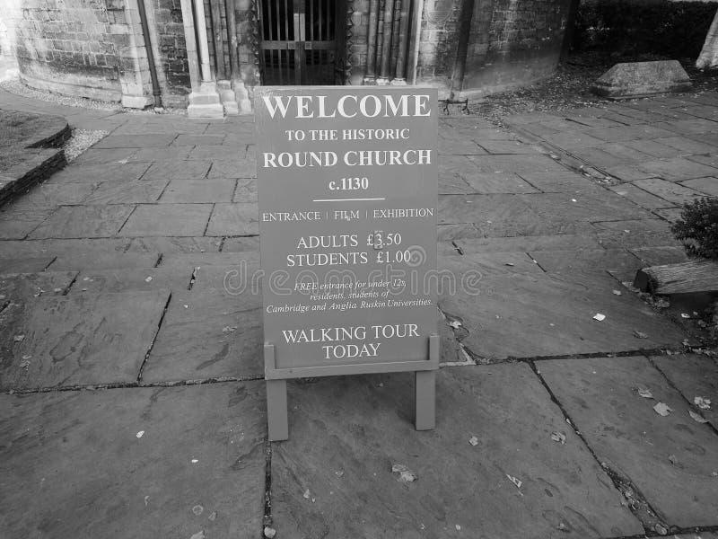 Ronde Kerk in Cambridge in zwart-wit stock afbeeldingen