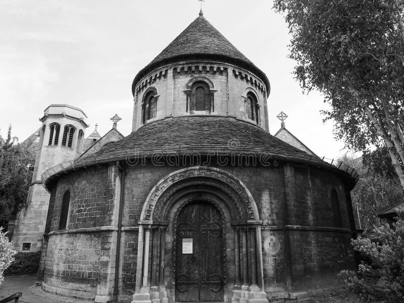 Ronde Kerk in Cambridge in zwart-wit royalty-vrije stock afbeeldingen