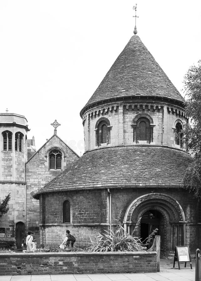 Ronde Kerk in Cambridge Zwart-wit Engeland stock fotografie