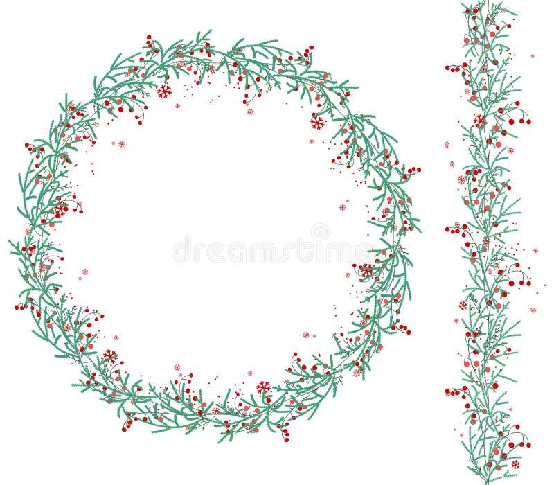 Ronde Kerstmiskroon met sneeuw en spartakken op wit royalty-vrije illustratie