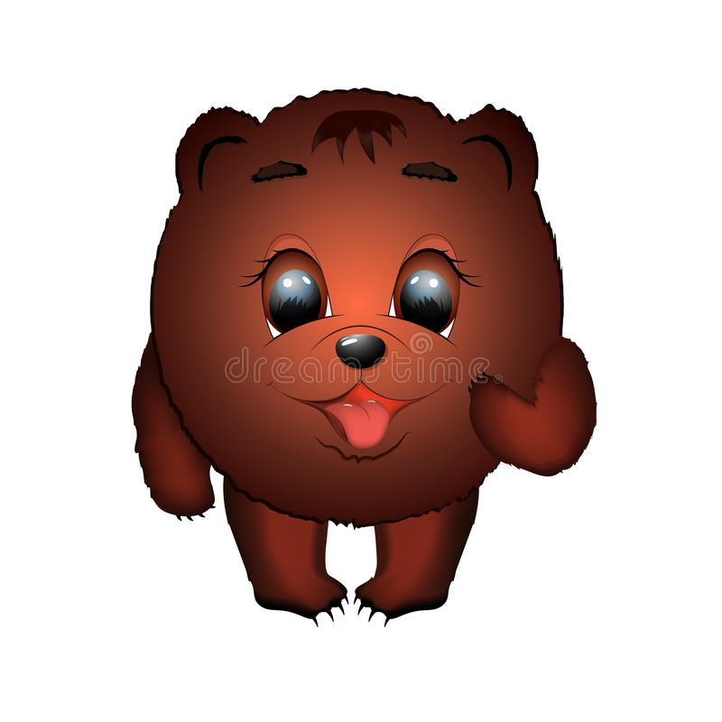 Ronde, kleine, grappige beer bruine grote mooie ogen een karakter vector illustratie