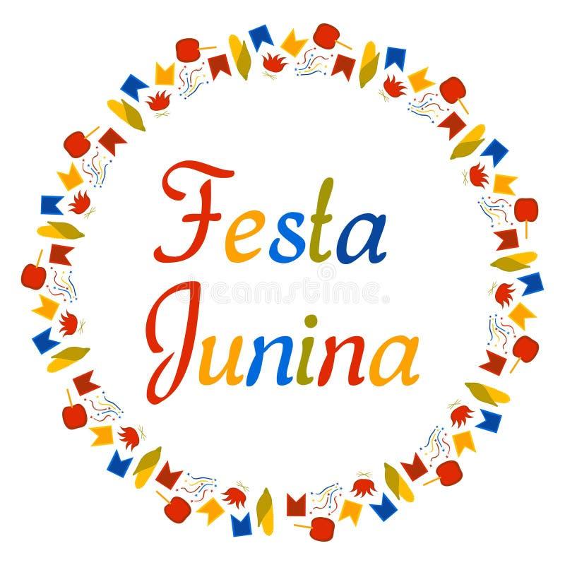 Ronde kleurrijke banner voor Festa Junina Het Festival van Brazili? in Juni De tekst wordt omringd door kleine cijfers Vlaggen, g vector illustratie