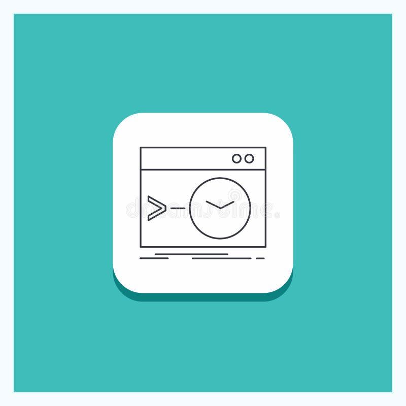 Ronde Knoop voor Admin, bevel, wortel, software, de eind Turkooise Achtergrond van het Lijnpictogram stock illustratie