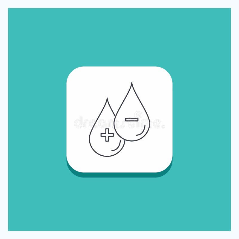 Ronde Knoop voor bloed, daling, vloeistof, plus, Minus de Turkooise Achtergrond van het Lijnpictogram stock illustratie