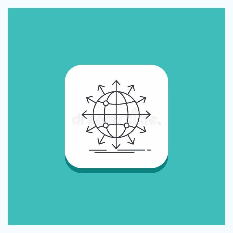 Ronde Knoop voor bol, netwerk, pijl, nieuws, de Turkooise Achtergrond wereldwijd van het Lijnpictogram royalty-vrije illustratie
