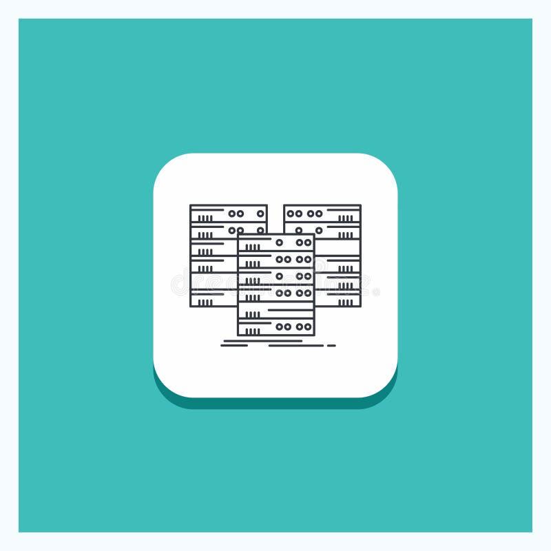 Ronde Knoop voor Centrum, centrum, gegevens, database, het pictogram Turkooise Achtergrond van de serverlijn stock illustratie