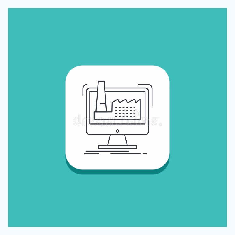 Ronde Knoop voor digitaal, fabriek, productie, productie, de Turkooise Achtergrond van het productregelpictogram stock illustratie