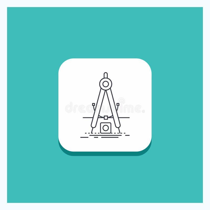 Ronde Knoop voor Ontwerp, maatregel, product, verbetering, het pictogram Turkooise Achtergrond van de Ontwikkelingslijn stock illustratie