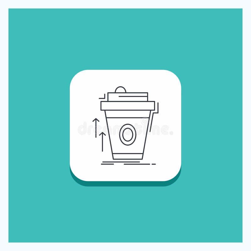 Ronde Knoop voor product, promo, koffie, kop, merk marketing de Turkooise Achtergrond van het Lijnpictogram royalty-vrije illustratie
