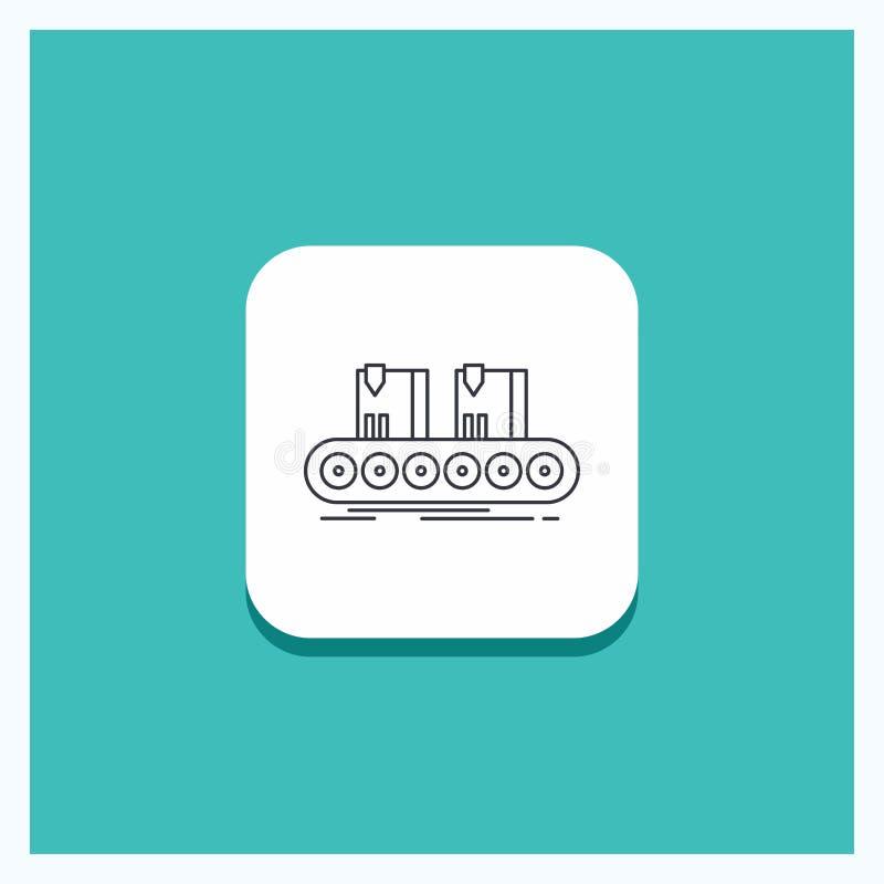 Ronde Knoop voor Riem, doos, transportband, fabriek, het pictogram Turkooise Achtergrond van de lijnlijn vector illustratie