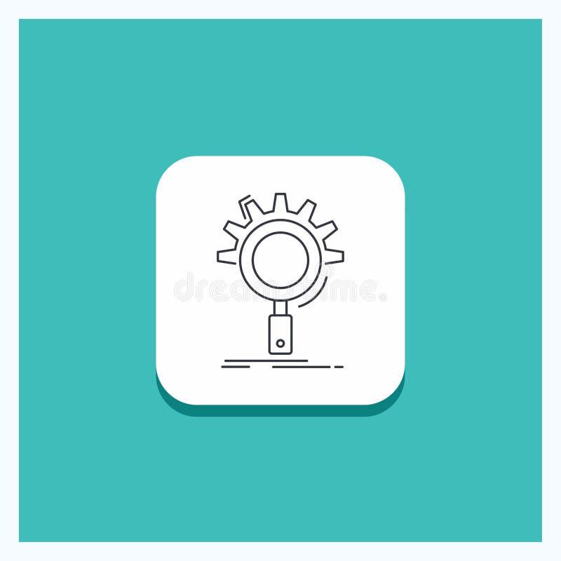 Ronde Knoop voor seo, onderzoek, optimalisering, proces, het plaatsen Lijnpictogram Turkooise Achtergrond royalty-vrije illustratie