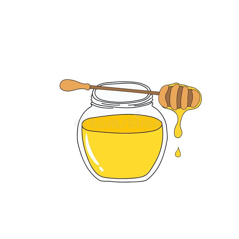 Ronde kristalkruik met gouden honings houten dipper met druipende nectar Hand getrokken krabbel vectorillustratie in jonge geitje royalty-vrije illustratie