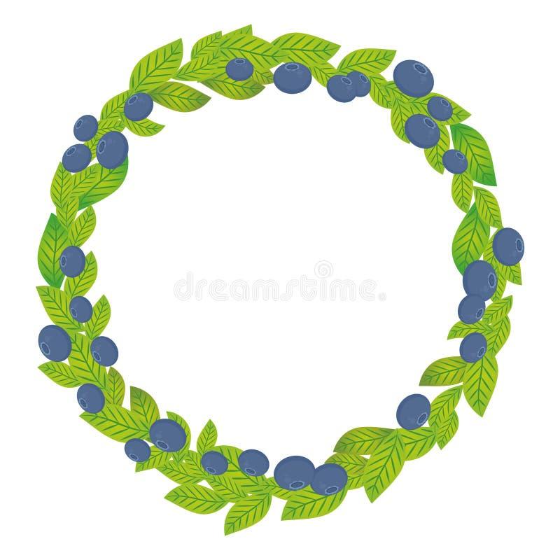 Ronde kroon met groene bladeren en bosbes, bosbes, blauwe bosbes Verse sappige die bessen op witte achtergrond worden geïsoleerd  royalty-vrije illustratie