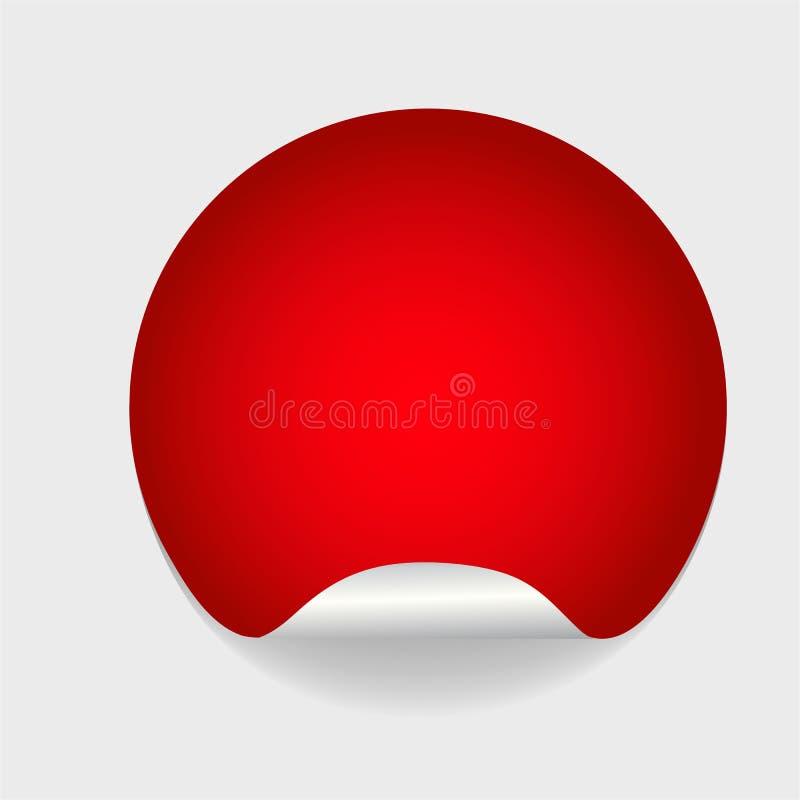 Ronde lege rode zelfklevende document stickerspot omhoog met gebogen rand Malplaatje van leeg cirkel kleverig etiket in modelstij stock illustratie