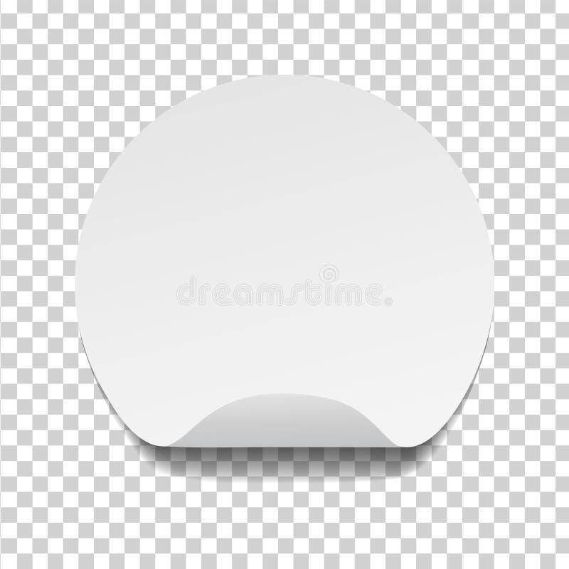 Ronde lege zelfklevende document stickerspot omhoog met gebogen rand Malplaatje van leeg cirkel kleverig etiket in modelstijl Vec royalty-vrije illustratie