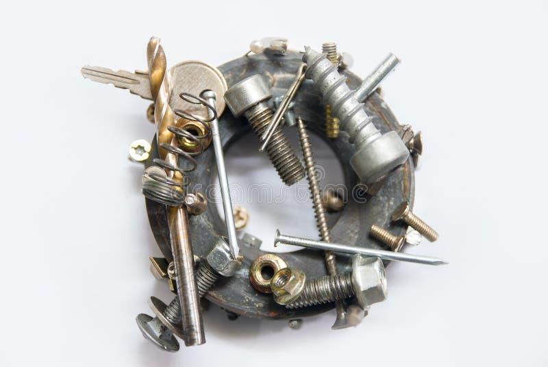 Ronde magneet en metalen stock afbeeldingen