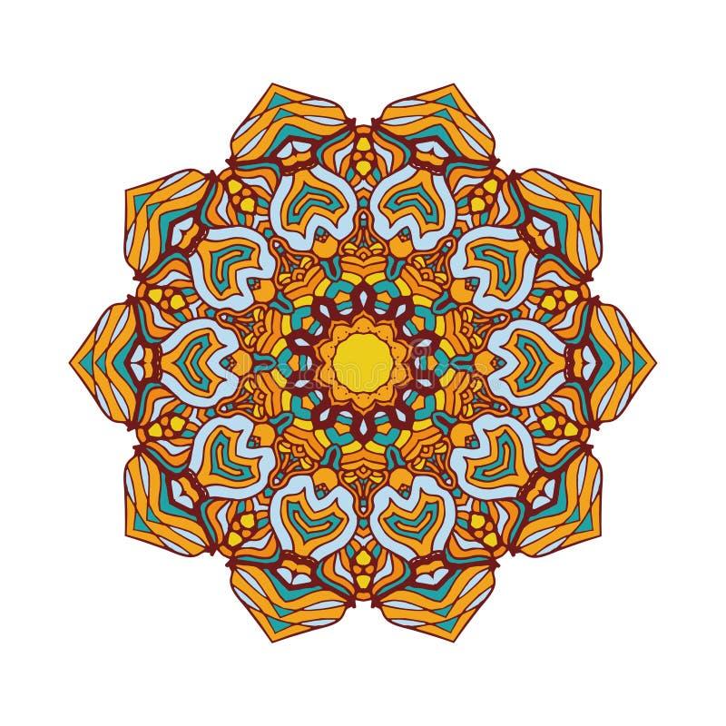 Ronde mandalas in vector Het abstracte Element van het Ontwerp Decoratief retro ornament Grafisch malplaatje voor uw ontwerp royalty-vrije illustratie
