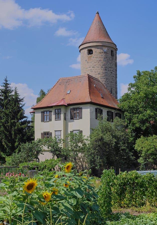 Ronde Middeleeuwse Toren met Zonnebloemtuin stock fotografie