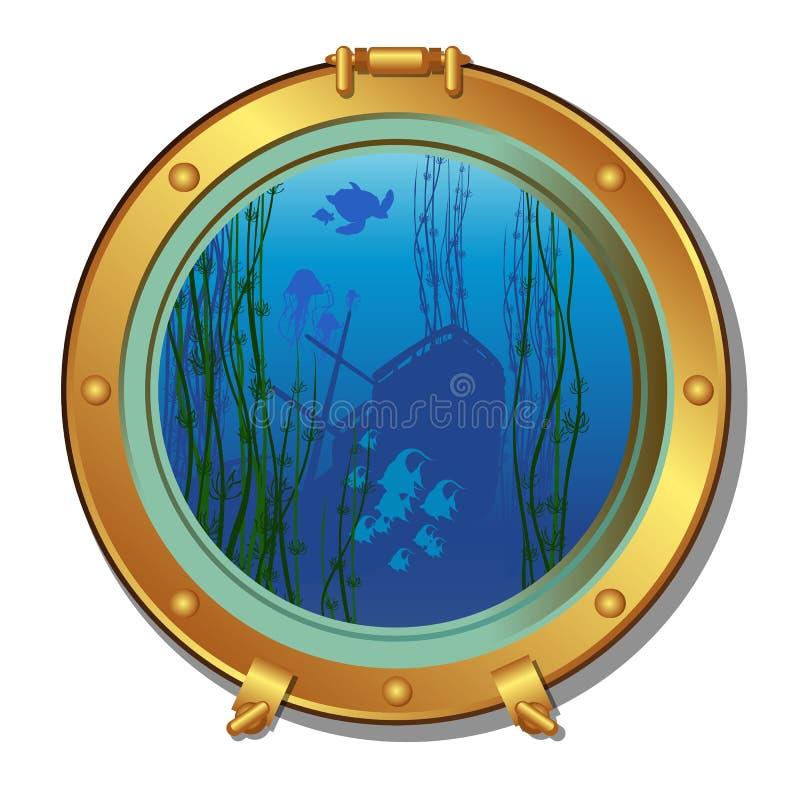 Ronde patrijspoort van een onderzeeër met meningen van het gedaalde schip en het mariene die leven op witte achtergrond wordt geï royalty-vrije illustratie
