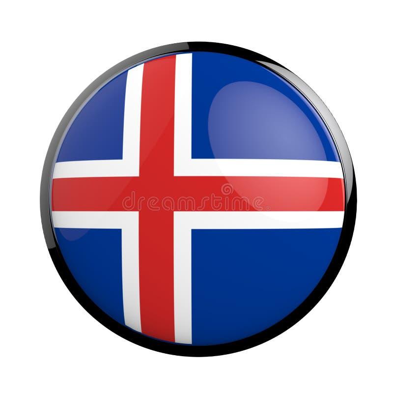 Ronde pictogramvlag van IJsland stock illustratie