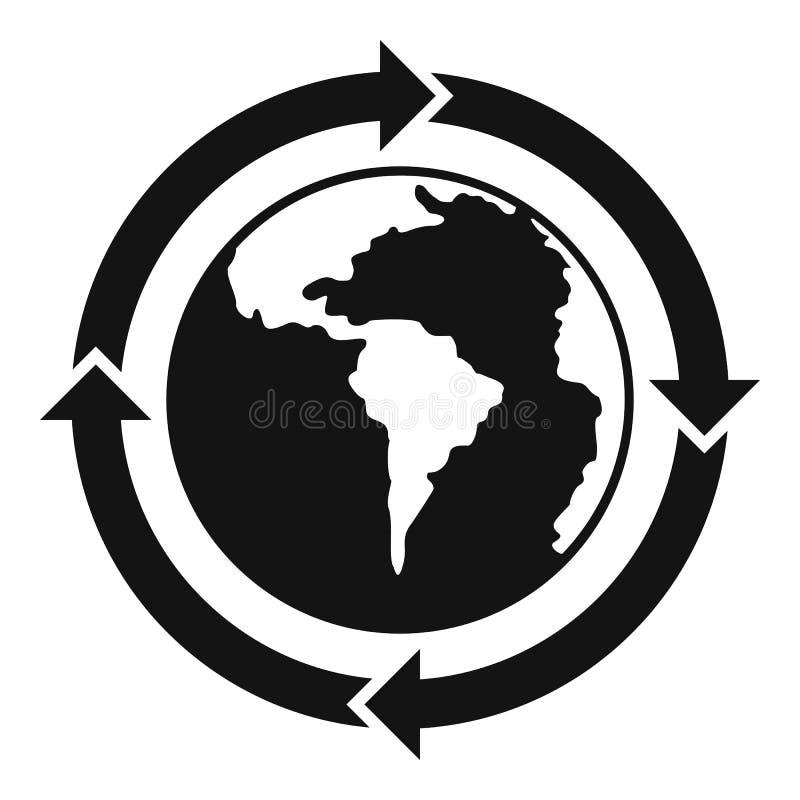 Ronde pijlen rond het pictogram eenvoudige stijl van de wereldplaneet vector illustratie