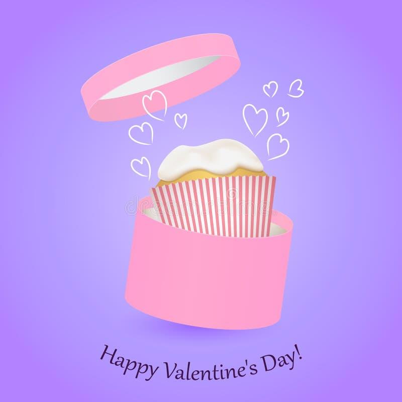 Ronde roze decoratieve giftdoos en cake De dag van de valentijnskaart royalty-vrije stock foto