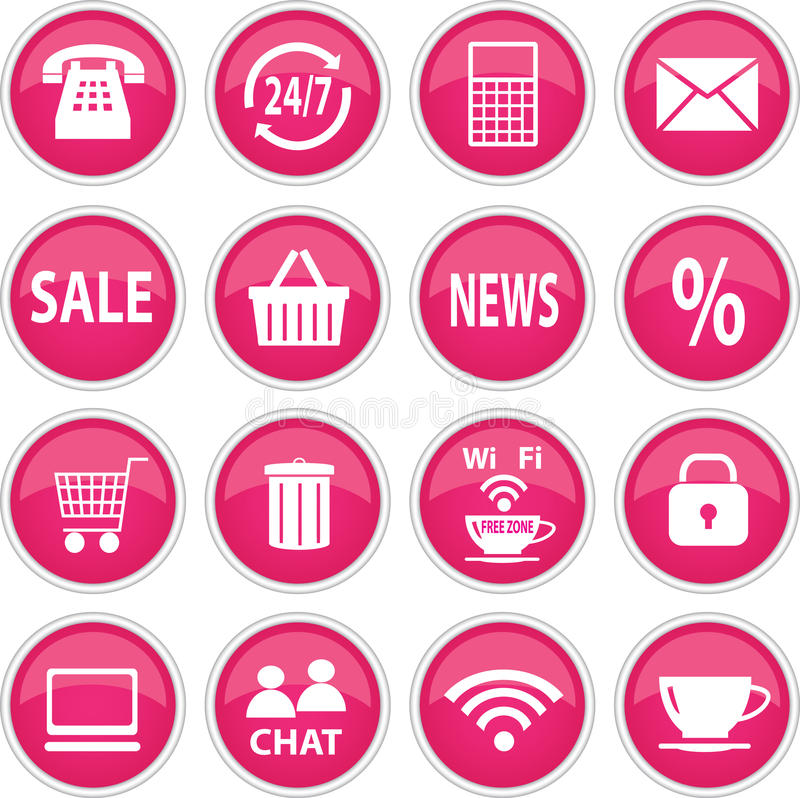 Ronde roze pictogrammen vector illustratie