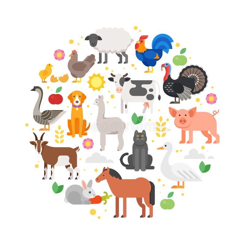 ronde samenstelling van de pictogrammen van landbouwbedrijfdieren stock illustratie