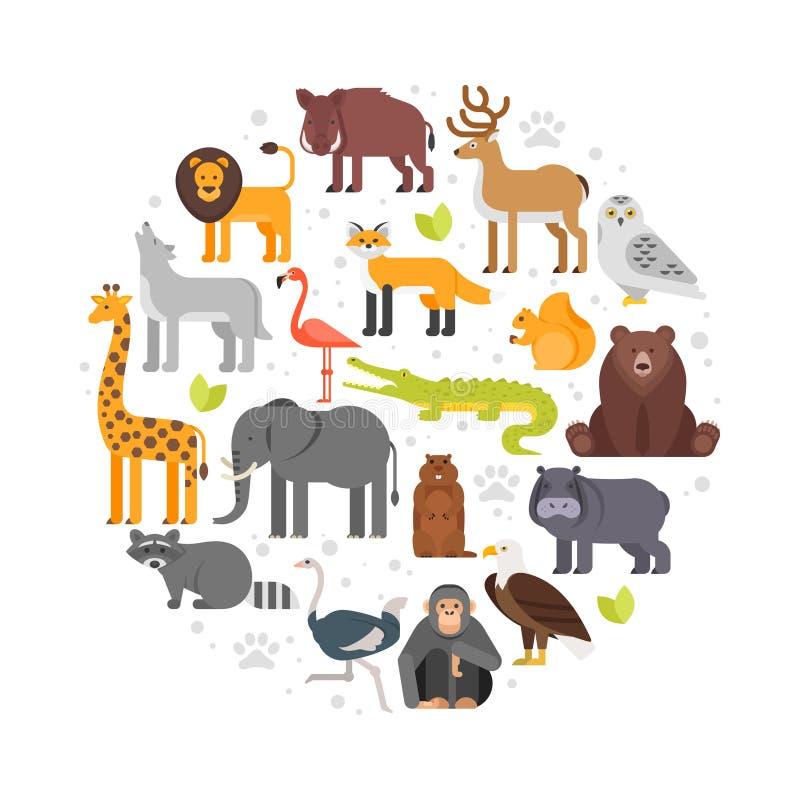 Ronde samenstelling van de pictogrammen van dierentuindieren stock illustratie