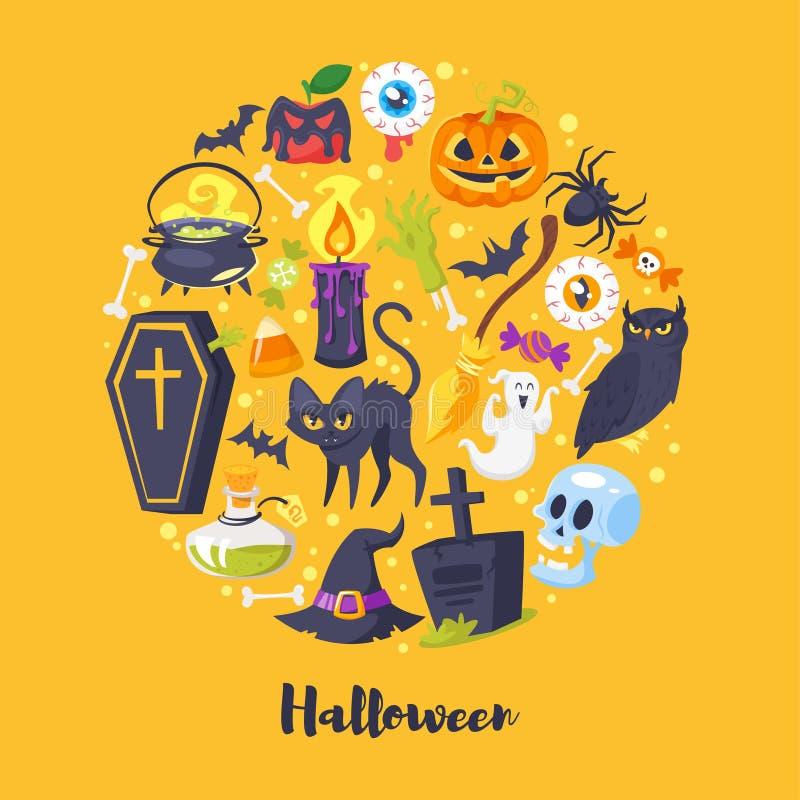Ronde samenstelling van Halloween-symbolen stock illustratie