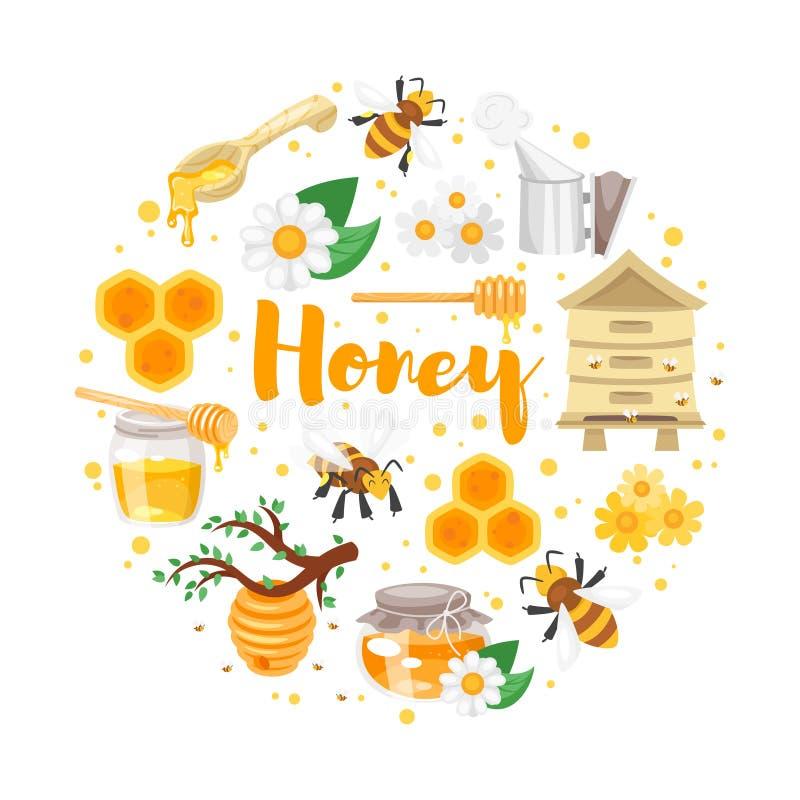 Ronde samenstelling van honing vector illustratie