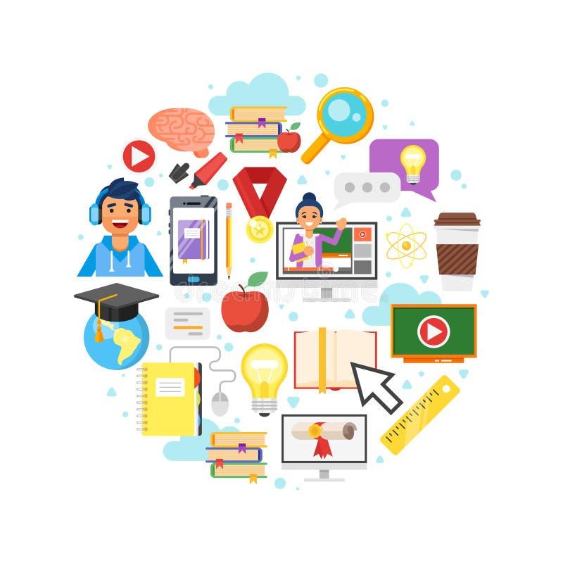 ronde samenstelling van online onderwijssymbolen royalty-vrije illustratie