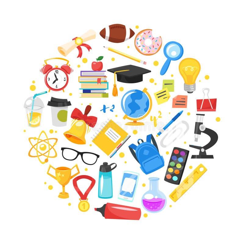 Ronde samenstelling van schoolsymbolen vector illustratie