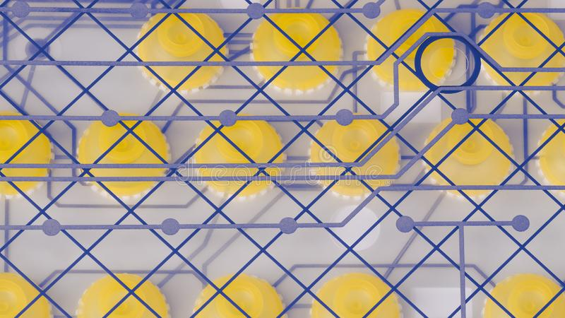 Ronde siliconeschakelaars en PCB op plastic membraan Gedemonteerd computertoetsenbord royalty-vrije stock afbeelding