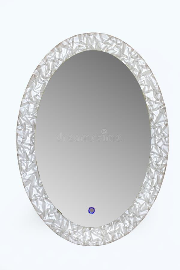 Ronde spiegel met LEIDEN licht stock afbeeldingen
