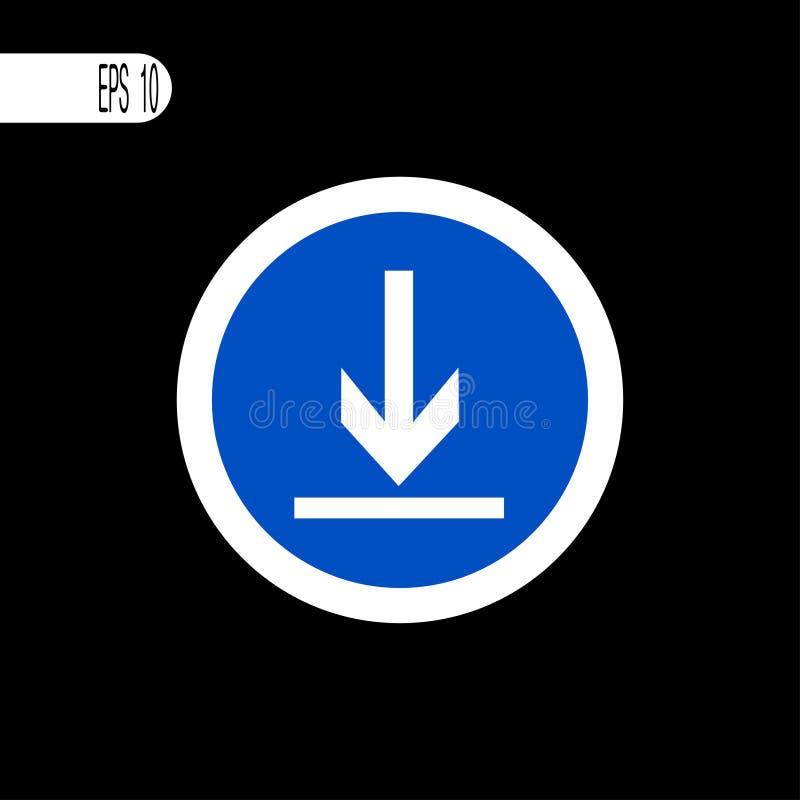 Ronde teken witte dunne lijn Downloadteken, pictogram - vectorillustratie vector illustratie