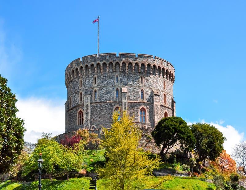 Ronde Toren van Windsor Castle, de voorsteden van Londen, het UK stock afbeeldingen