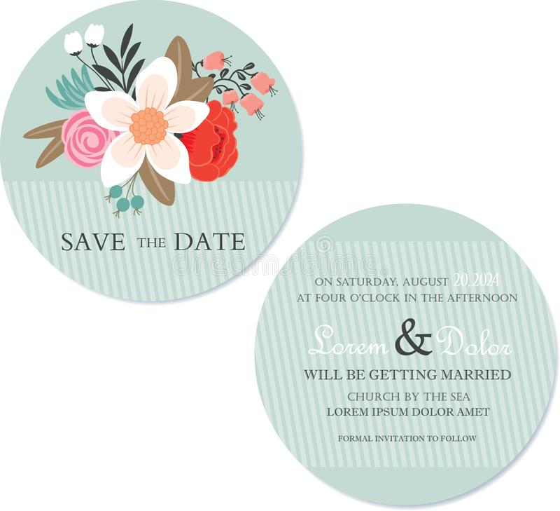 Ronde, tweezijdige bloemen sparen de datumkaart stock illustratie