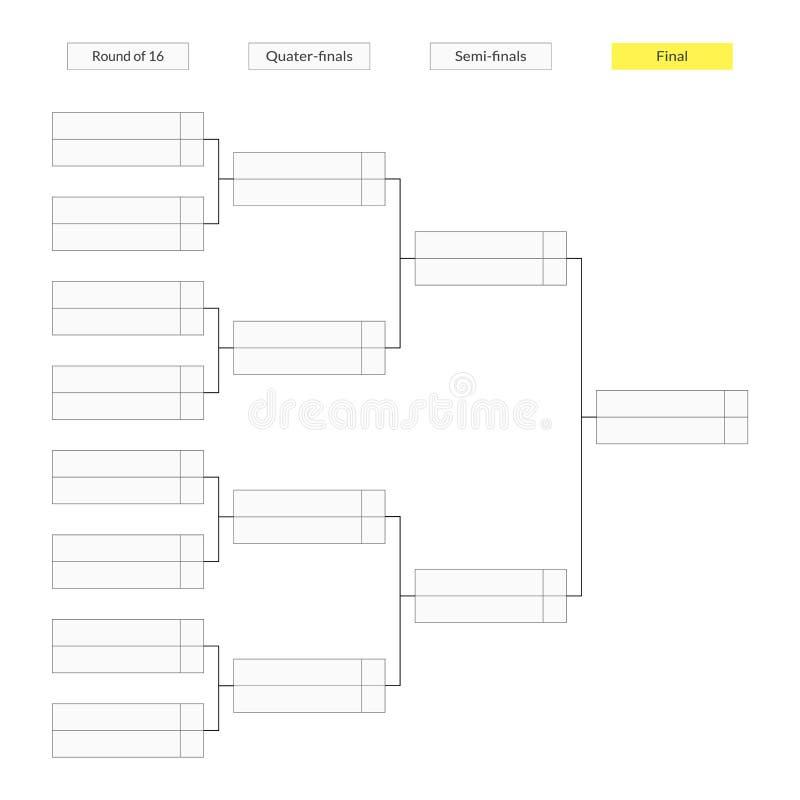 Ronde van het malplaatje van de 16 toernooiensteun voor infographics royalty-vrije illustratie
