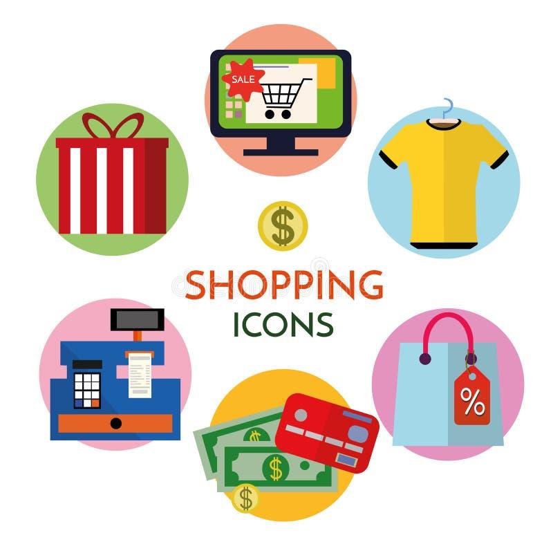 Ronde vector vlakke pictogrammen die met lange schaduw voor Web en mobiele apps worden geplaatst Kleurrijke moderne ontwerpillust royalty-vrije illustratie