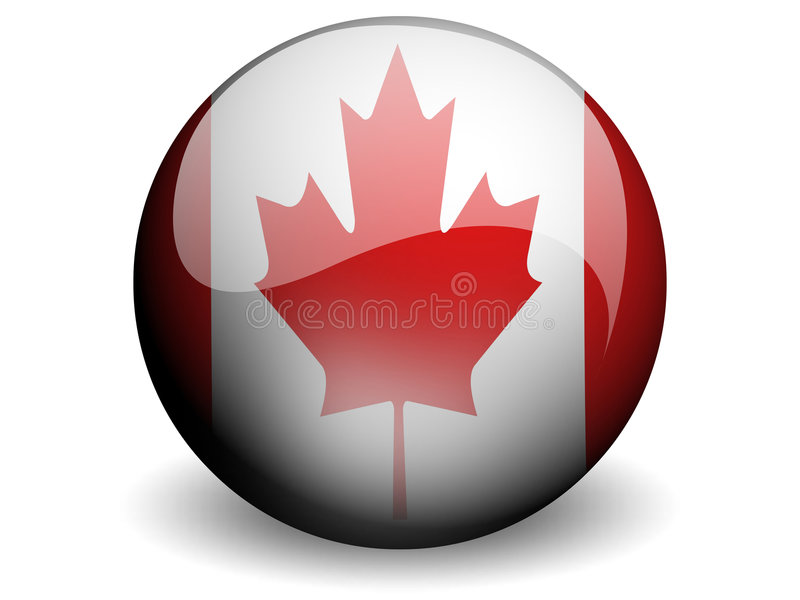 Ronde Vlag van Canada stock illustratie
