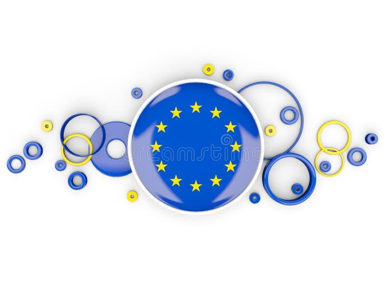 Ronde vlag van Europese Unie met cirkelspatroon stock illustratie