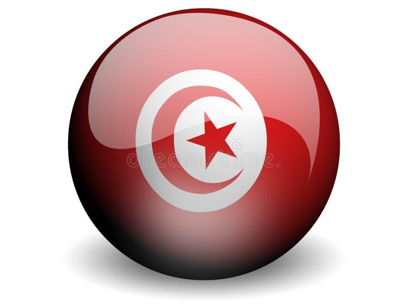 Ronde Vlag van Tunesië royalty-vrije illustratie