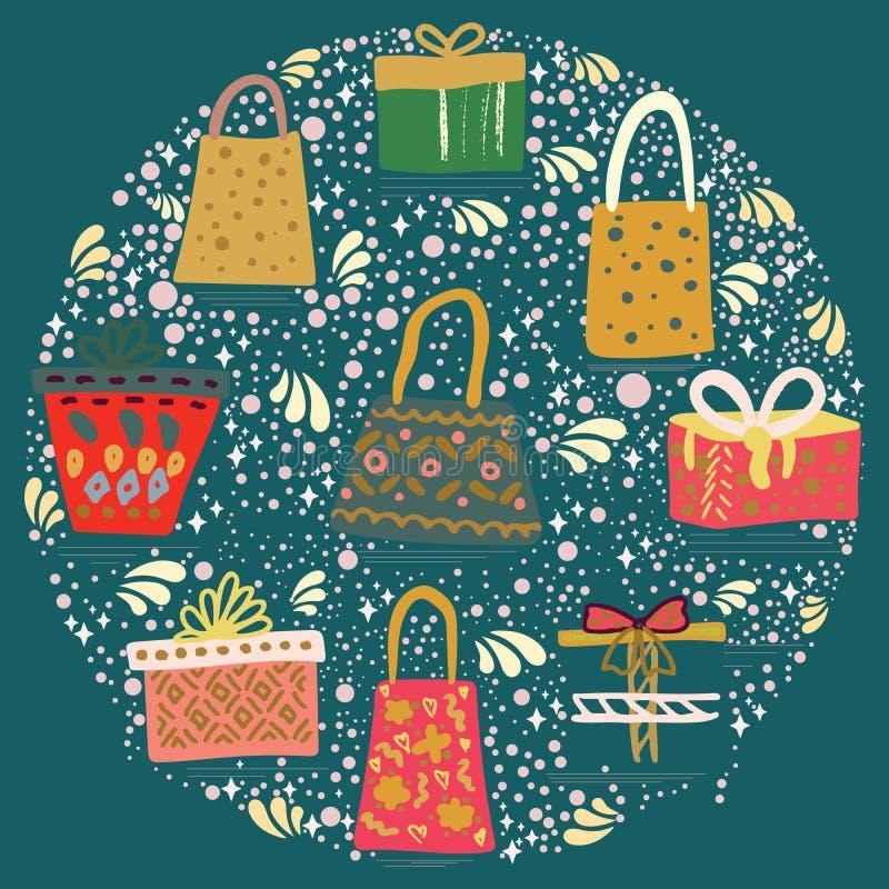 Ronde vorm met giftzakken en dozen met lint op wintertalings groene achtergrond vector illustratie