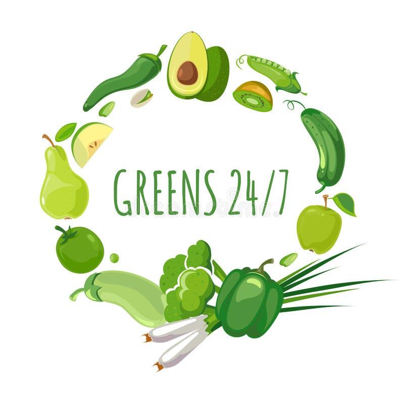 Ronde vorm met groene groenten en vruchten stock illustratie