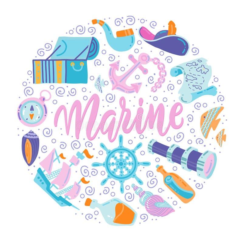 Ronde vormdruk met Leuke Zeevaartreeks De vlakke Vectorelementen van het illustratie zeevaartontwerp Kinderachtige illustratie Ge stock illustratie