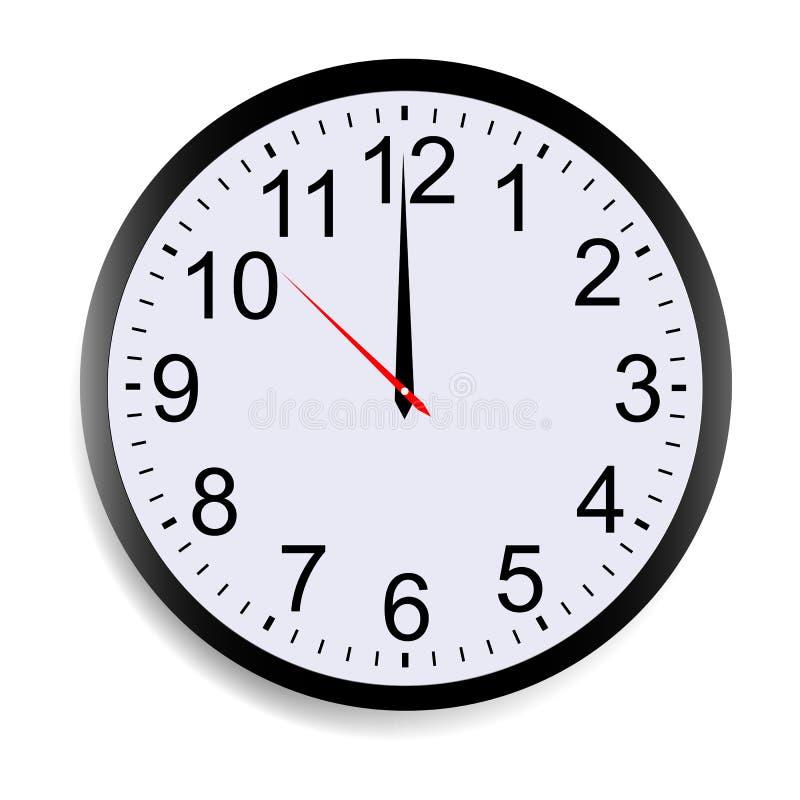 Ronde wijzerplaat die de klok van twaalf o tonen ` stock illustratie