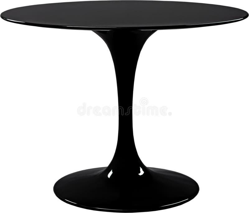 Ronde zwarte dinning lijst Moderne die ontwerper, lijst op witte achtergrond wordt geïsoleerd Reeks van meubilair royalty-vrije stock foto's