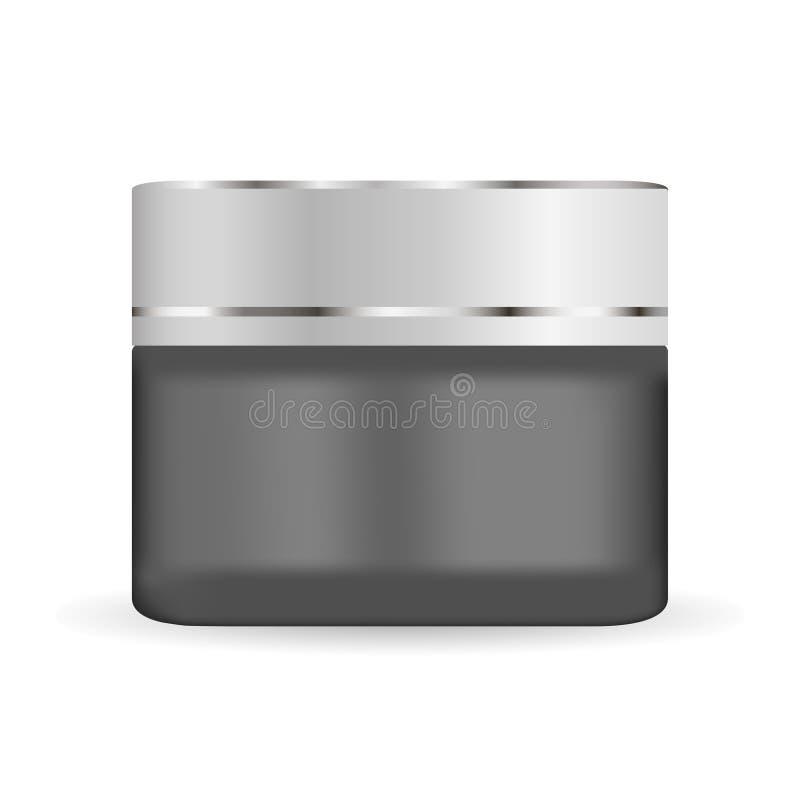 Ronde zwarte matte glaskruik met plastic deksel voor schoonheidsmiddelen - schrobt de lichaamscrème, boter, badzout, gel, huidzor vector illustratie